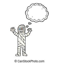 thought bubble cartoon bandaged mummy - freehand drawn...