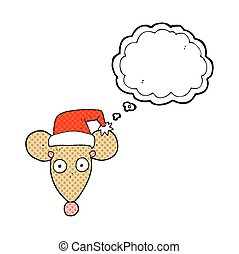 thought bubble cartoon mouse in christmas hat - freehand...