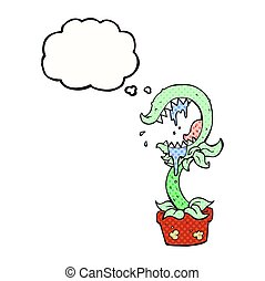 thought bubble cartoon carnivorous plant - freehand drawn...