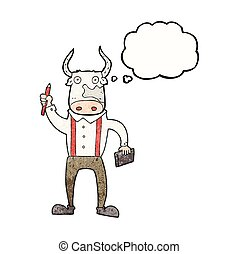 thought bubble textured cartoon bull man - freehand drawn...