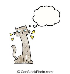 thought bubble textured cartoon cat - freehand drawn thought...
