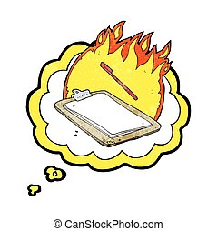 thought bubble textured cartoon clip board on fire -...
