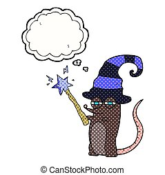 thought bubble cartoon magic witch mouse - freehand drawn...