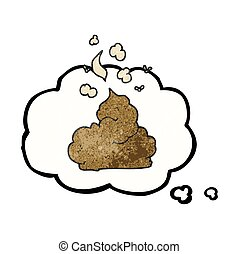 thought bubble textured cartoon gross poop - freehand drawn...