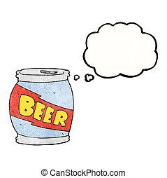 thought bubble textured cartoon beer can - freehand drawn...