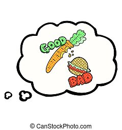 thought bubble cartoon good and bad food