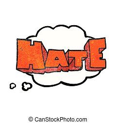 thought bubble textured cartoon word Hate - freehand drawn...