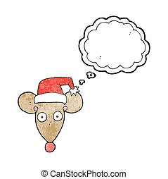 thought bubble textured cartoon mouse in christmas hat -...