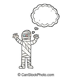 thought bubble textured cartoon bandaged mummy - freehand...
