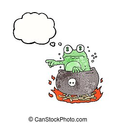 thought bubble textured cartoon halloween toad in cauldron -...