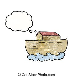thought bubble textured cartoon noahs ark - freehand drawn...
