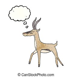 thought bubble textured cartoon gazelle - freehand drawn...