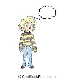 thought bubble textured cartoon chilled out girl - freehand...