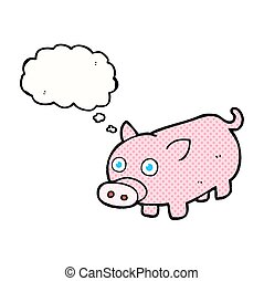 thought bubble cartoon piglet - freehand drawn thought...