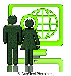 Global Net Start-Up - Couple near the big computer screen...