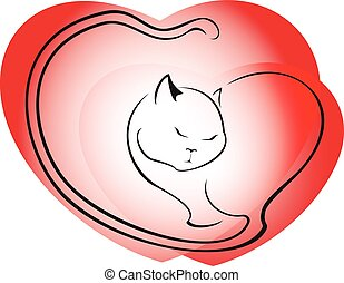 Cat on a background of red hearts. EPS10 vector illustration