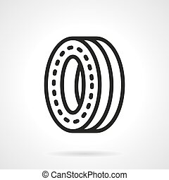 Wheel for skateboard black line design vector icon -...