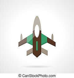 Fighter flat color design vector icon - Jet fighter or...