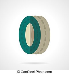 Green wheel flat color design vector icon - Single green...