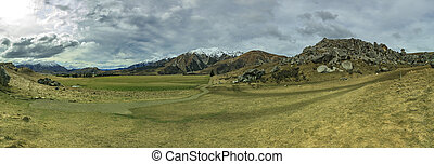 wide angle panorama landscape of castle hill mountain and...