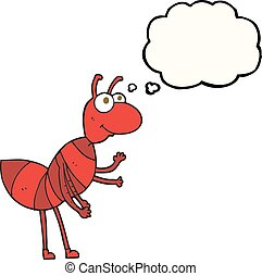 thought bubble cartoon ant - freehand drawn thought bubble...