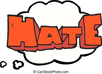 thought bubble cartoon word Hate - freehand drawn thought...