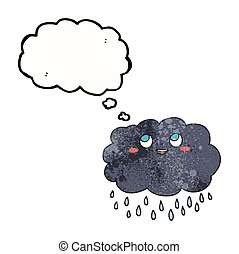thought bubble textured cartoon raincloud - freehand drawn...