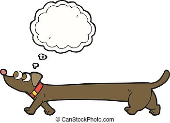 thought bubble cartoon dachshund - freehand drawn thought...