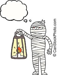 thought bubble cartoon mummy - freehand drawn thought bubble...