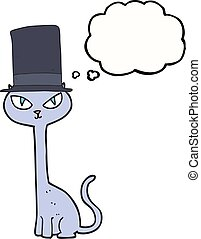 thought bubble cartoon posh cat - freehand drawn thought...