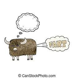 thought bubble textured cartoon hairy cow farting - freehand...