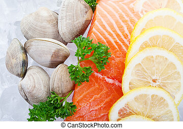 Salmon fillets - Fresh fillets of salmon on ice with clams...