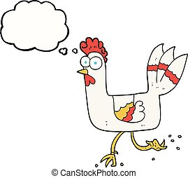thought bubble cartoon chicken running