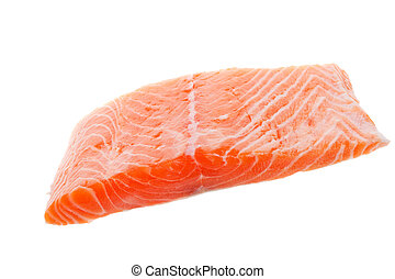 Raw salmon - A fillet of raw salmon on a white background
