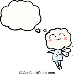 thought bubble cartoon cute cloud head imp - freehand drawn...
