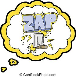 thought bubble cartoon electrical switch zap - freehand...