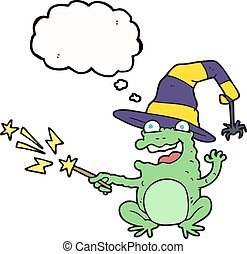 thought bubble cartoon toad casting spell - freehand drawn...