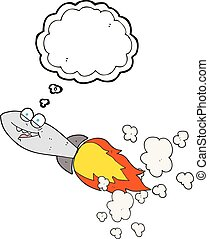 thought bubble cartoon missile - freehand drawn thought...