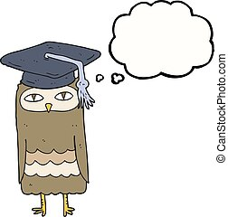 thought bubble cartoon wise owl
