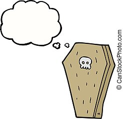 thought bubble cartoon halloween coffin - freehand drawn...