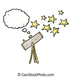 thought bubble textured cartoon telescope and stars