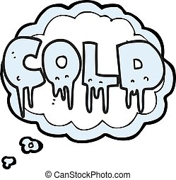 thought bubble cartoon word cold
