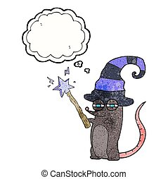 thought bubble textured cartoon magic witch mouse - freehand...