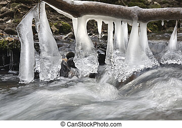 Icy bells - Wonderful formations of icicles above the stream...