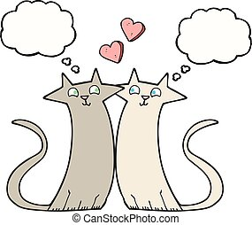 thought bubble cartoon cats in love