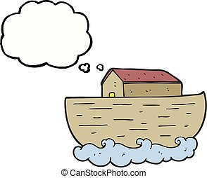 thought bubble cartoon noah's ark - freehand drawn thought...