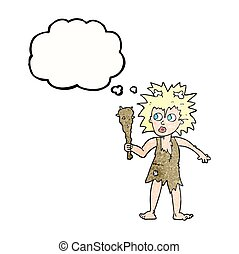 thought bubble textured cartoon cave woman - freehand drawn...