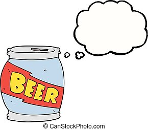 thought bubble cartoon beer can - freehand drawn thought...