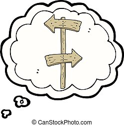 thought bubble cartoon wooden direction sign