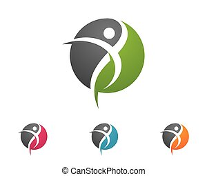 Healthy Life Logo Template - Fun people Healthy Life icon...